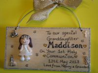 3d Personalised Communion Baptism Sign Boy or Girl Unique Keepsake Gift Plaque Handmade Any Phrasing